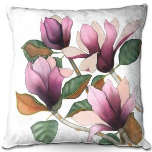 Decorative Outdoor Patio Pillow Cushion | Judith Figuiere - 4 Purple Magnolias | Floral, Flowers