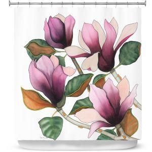 Premium Shower Curtains | Judith Figuiere - 4 Purple Magnolias | Floral, Flowers
