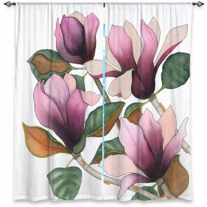 Decorative Window Treatments | Judith Figuiere - 4 Purple Magnolias | Floral, Flowers