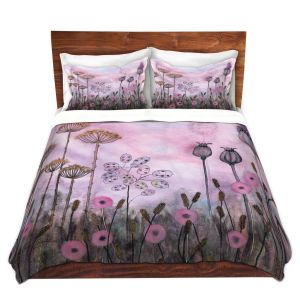 Artistic Duvet Covers and Shams Bedding | Judith Figuiere - Autumn Poppies | Floral, Flowers, landscape, field