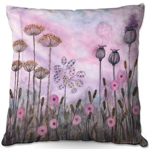Throw Pillows Decorative Artistic | Judith Figuiere - Autumn Poppies | Floral, Flowers, landscape, field