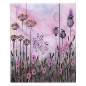 Decorative Wood Plank Wall Art | Judith Figuiere - Autumn Poppies | Floral, Flowers, landscape, field
