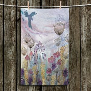 Unique Bathroom Towels | Judith Figuiere - Birds Seedheads | Floral, Flowers, landscape, field