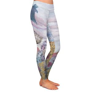 Casual Comfortable Leggings | Judith Figuiere - Birds Seedheads | Floral, Flowers, landscape, field