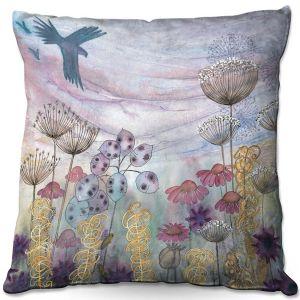 Decorative Outdoor Patio Pillow Cushion | Judith Figuiere - Birds Seedheads | Floral, Flowers, landscape, field