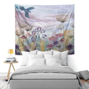 Artistic Wall Tapestry | Judith Figuiere - Birds Seedheads | Floral, Flowers, landscape, field