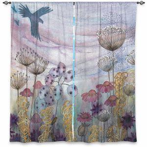 Decorative Window Treatments | Judith Figuiere - Birds Seedheads | Floral, Flowers, landscape, field