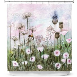 Premium Shower Curtains | Judith Figuiere - Bumble Bee | Floral, Flowers, landscape, field