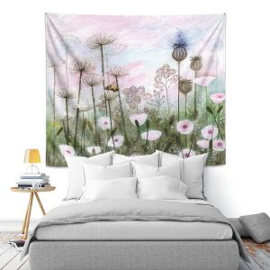 Artistic Wall Tapestry | Judith Figuiere - Bumble Bee | Floral, Flowers, landscape, field