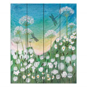 Decorative Wood Plank Wall Art | Judith Figuiere - Dragon Flies | Floral, Flowers, landscape, field