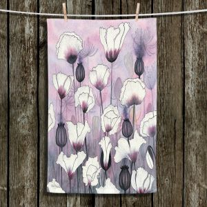 Unique Bathroom Towels | Judith Figuiere - Field White Poppies | Floral, Flowers