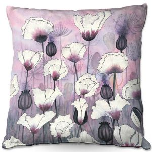 Throw Pillows Decorative Artistic | Judith Figuiere - Field White Poppies | Floral, Flowers