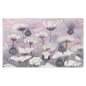 Artistic Pashmina Scarf | Judith Figuiere - Field White Poppies | Floral, Flowers