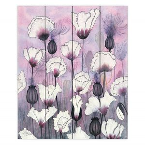 Decorative Wood Plank Wall Art | Judith Figuiere - Field White Poppies | Floral, Flowers