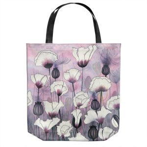 Unique Shoulder Bag Tote Bags | Judith Figuiere - Field White Poppies | Floral, Flowers