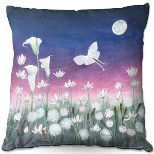Throw Pillows Decorative Artistic | Judith Figuiere - Luna | Floral, Flowers, landscape, field