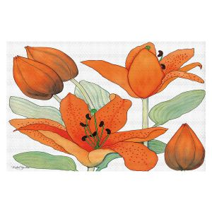 Decorative Floor Covering Mats | Judith Figuiere - Orange Lillies | Floral, Flowers
