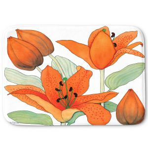 Decorative Bathroom Mats | Judith Figuiere - Orange Lillies | Floral, Flowers