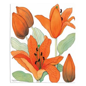 Artistic Sherpa Pile Blankets | Judith Figuiere - Orange Lillies | Floral, Flowers
