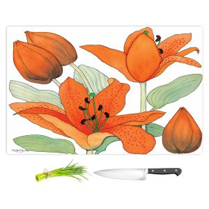Artistic Kitchen Bar Cutting Boards | Judith Figuiere - Orange Lillies | Floral, Flowers