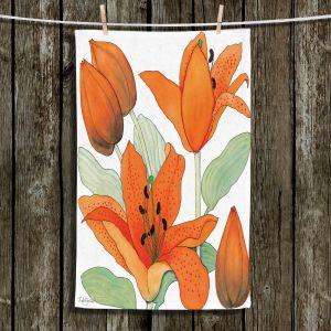 Unique Bathroom Towels | Judith Figuiere - Orange Lillies | Floral, Flowers