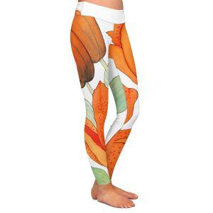 Casual Comfortable Leggings | Judith Figuiere - Orange Lillies | Floral, Flowers