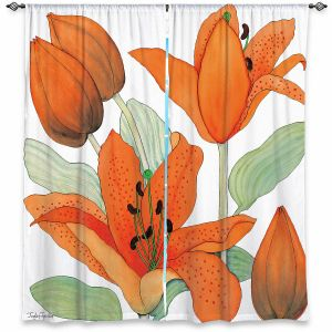 Decorative Window Treatments | Judith Figuiere - Orange Lillies | Floral, Flowers