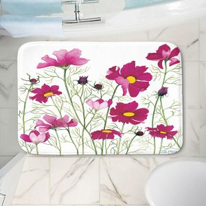 Decorative Bathroom Mats | Judith Figuiere - Pink Cosmos | Floral, Flowers