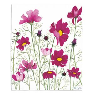 Decorative Fleece Throw Blankets | Judith Figuiere - Pink Cosmos | Floral, Flowers
