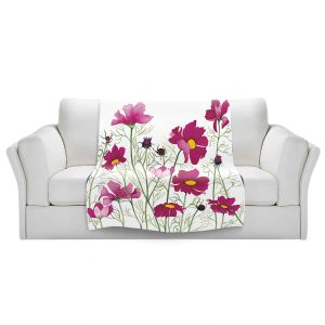 Artistic Sherpa Pile Blankets | Judith Figuiere - Pink Cosmos | Floral, Flowers