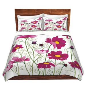 Artistic Duvet Covers and Shams Bedding | Judith Figuiere - Pink Cosmos | Floral, Flowers