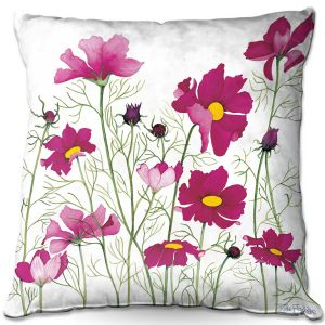 Decorative Outdoor Patio Pillow Cushion | Judith Figuiere - Pink Cosmos | Floral, Flowers