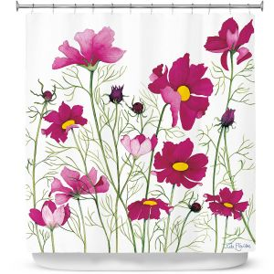 Premium Shower Curtains | Judith Figuiere - Pink Cosmos | Floral, Flowers