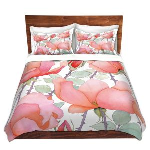 Artistic Duvet Covers and Shams Bedding | Judith Figuiere - Rosa | Floral, Flowers