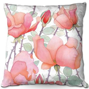 Decorative Outdoor Patio Pillow Cushion | Judith Figuiere - Rosa | Floral, Flowers