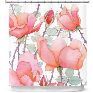 Premium Shower Curtains | Judith Figuiere - Rosa | Floral, Flowers
