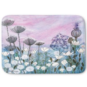 Decorative Bathroom Mats | Judith Figuiere - White Flowers at Dawn | Floral, Flowers, landscape, field