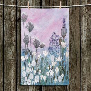 Unique Hanging Tea Towels | Judith Figuiere - White Flowers at Dawn | Floral, Flowers, landscape, field