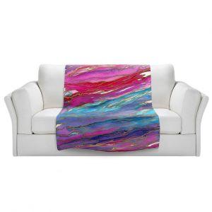Artistic Sherpa Pile Blankets | Julia Di Sano - Agate Magic Aqua Red