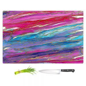Artistic Kitchen Bar Cutting Boards | Julia Di Sano - Agate Magic Aqua Red