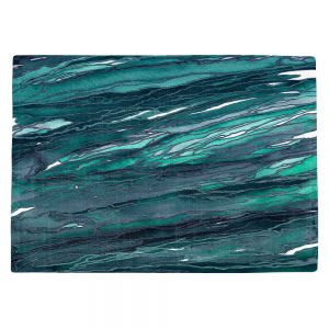 Decorative Kitchen Placemats 18x13 from DiaNoche Designs by Julia Di Sano - Agate Magic Dark Teal