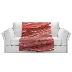 Artistic Sherpa Pile Blankets | Julia Di Sano - Agate Magic Rust Red