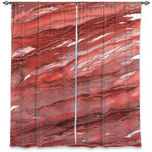 Unique Window Curtain Unlined 80w x 52h from DiaNoche Designs by Julia Di Sano - Agate Magic Rust Red