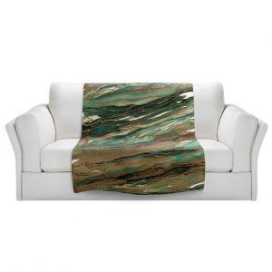 Artistic Sherpa Pile Blankets | Julia Di Sano - Agate Magic Tan Dark Green