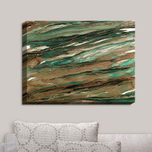 Decorative Canvas Wall Art | Julia Di Sano - Agate Magic Tan Dark Green | Abstract Painting