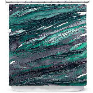 Premium Shower Curtains | Julia Di Sano - Agate Magic Teal Green Mauve