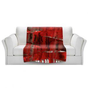 Artistic Sherpa Pile Blankets   Julia Di Sano - Balancing Act Bright Red   Abstract