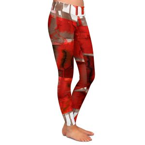 Casual Comfortable Leggings | Julia Di Sano - Balancing Act Bright Red | Abstract
