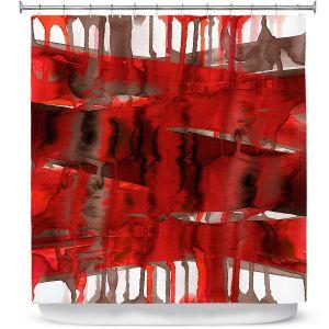 Premium Shower Curtains | Julia Di Sano - Balancing Act Bright Red | Abstract