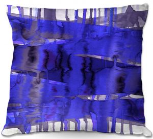 Decorative Outdoor Patio Pillow Cushion | Julia Di Sano - Balancing Act Electric Blue | Abstract